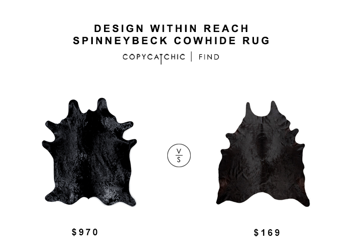 Design Within Reach Spinneybeck Cowhide Rug for $970 vs Ikea Koldby Cowhide Rug for $169 copycatchic luxe living for less budget home decor and design