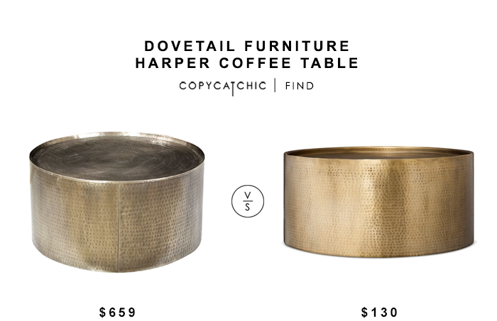 Dovetail Furniture Harper Coffee Table for $659 vs Target Threshold Hammered Barrel Coffee Table for $130 copycatchic luxe living for less budget home decor