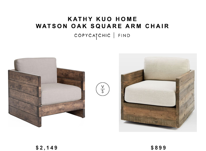 Kathy Kuo Home Watson Oak Square Arch Chair for $2,149 vs West Elm Emmerson Reclaimed Wood Swivel Chair for $899 copycatchic luxe living for less