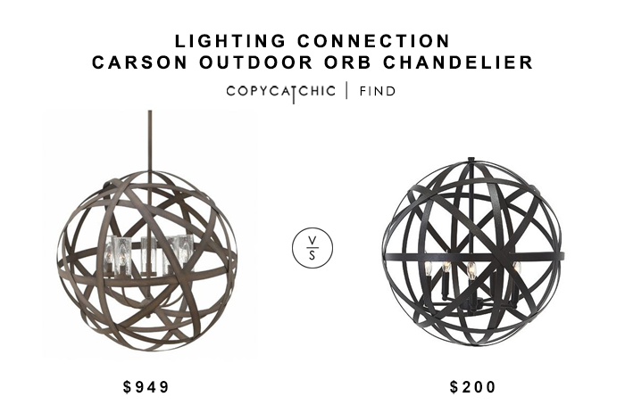Lighting Connection Carson Outdoor Orb Chandelier $949 vs Ashley Home Store Cade Pendant Light for $200 copycatchic luxe living for less budget home decor