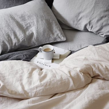 Anthropologie Soft-Washed Linen Duvet for $288 vs H&M Washed Linen Duvet Cover Set for $129 copycatchic luxe living for less budget home decor and design