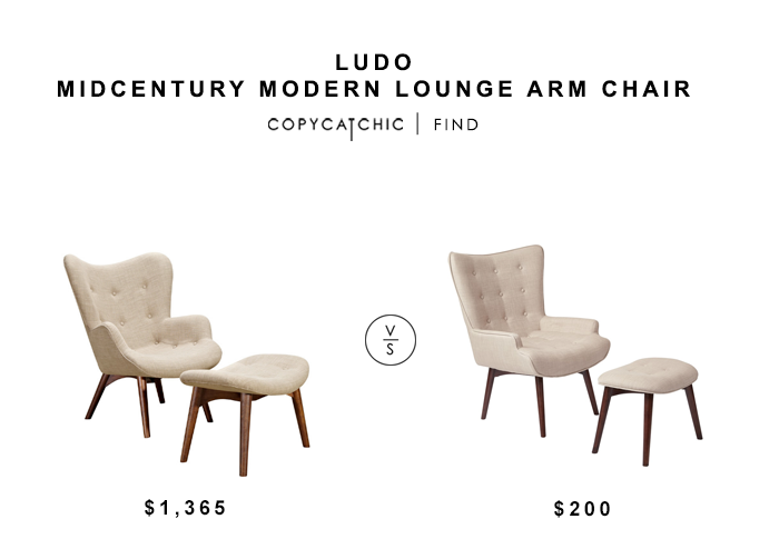Ludo Midcentury Modern Lounge Arm Chair for $1365 vs Totally Furniture Dalton Chair with Ottoman for $200 copycatchic luxe living for less budget home decor