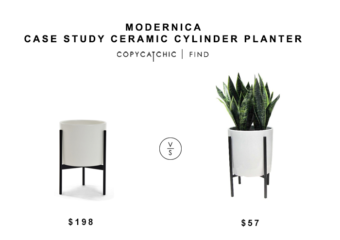 Modernica Case Study Ceramic Cylinder Planter $198 vs Target Threshold Plant in Stand for $57 copycatchic luxe living for less budget home decor and design
