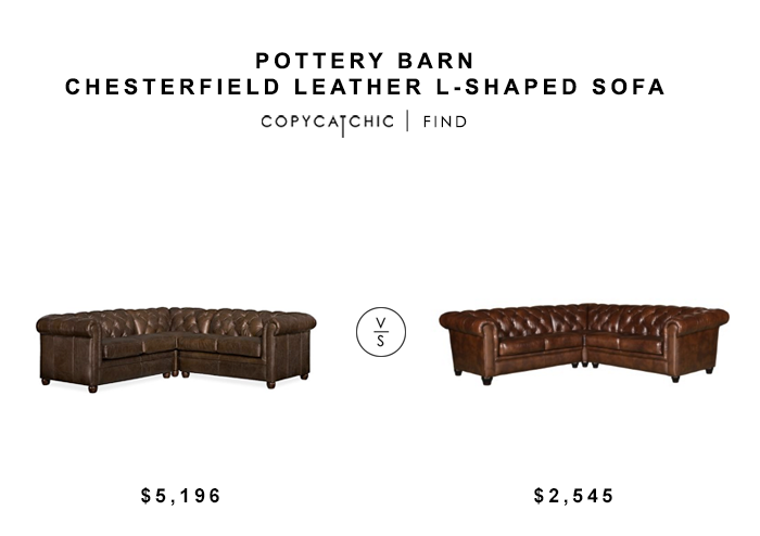 Pottery Barn Chesterfield Leather L-Shaped Sofa for $5196 vs Abbyson Tuscan Tufted Leather 3-Piece Sectional Sofa for $2545 copycatchic luxe living for less