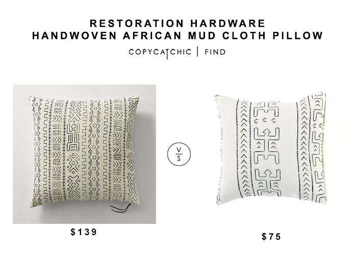 Restoration Hardware Handwoven African Mud Cloth Pillow for $139 vs Hesby Koro Mud cloth Pillow for $75 copycatchic luxe living for less budget home decor