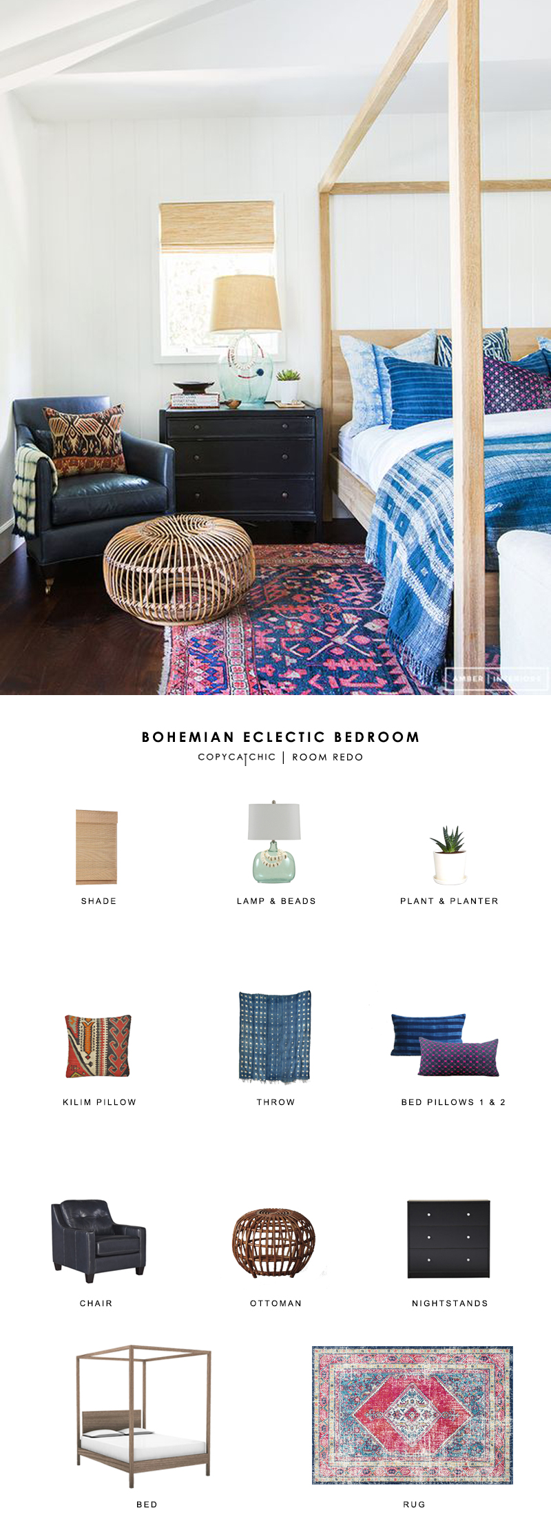 A gorgeous indigo boho eclectic bedroom designed by Amber Interiors gets recreated for less by copycatchic luxe living for less budget home decor and design