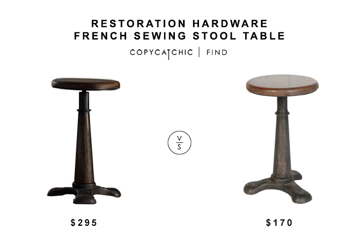 Restoration Hardware French Sewing Tool Table for $295 vs Nordstrom Rack Industrial Stool for $170 copycatchic luxe living for less budget home decor