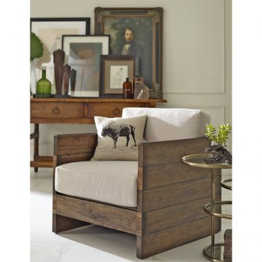 Kathy Kuo Home Watson Oak Square Arm Chair