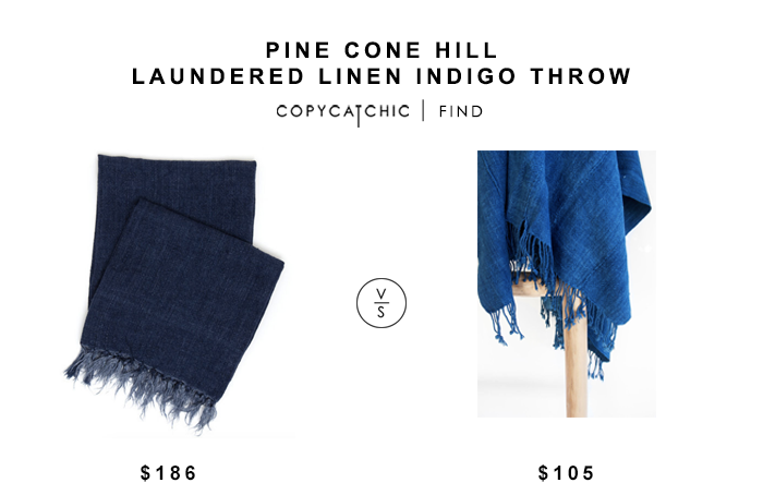 Pine Cone Hill Laundered Linen Indigo Throw for $186 vs Vintage Indigo Throw for $105 copycatchic luxe living for less budget home decor and design