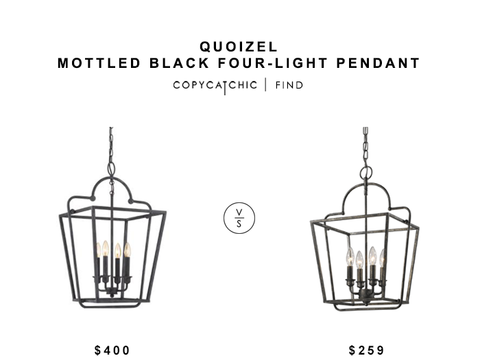 Quoizel Mottle Black Pendant for $400 vs Lighting Connection Elegant Open Cage Lantern for $259 copycatchic luxe living for less budget home decor & design