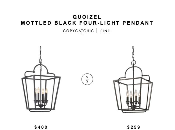 Quoizel Mottle Black Pendant for $400 vs Lighting Connection Elegant Open Cage Lantern for $259 copycatchic luxe living for less budget home decor & design