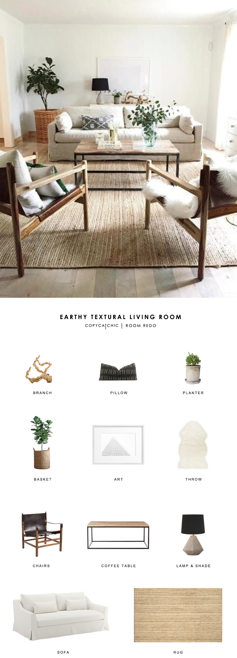 A chic natural, neutral living room by Anissa from House Seven gets recreated for less by copycatchic luxe living for less budget home decor and design