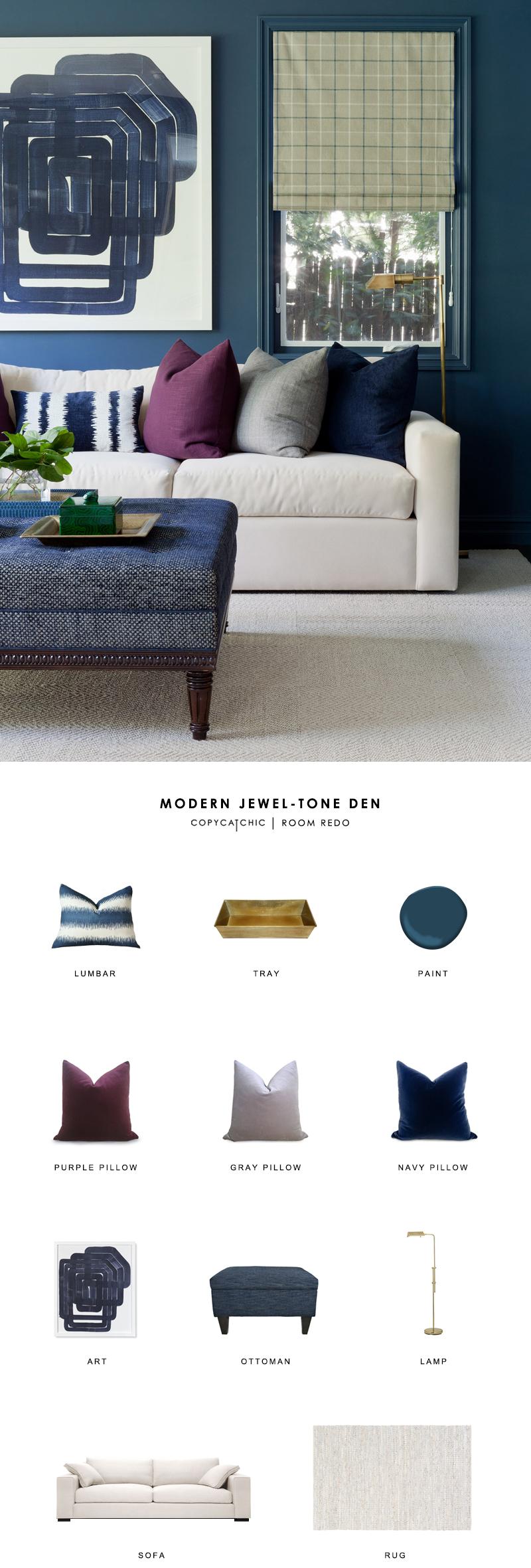 Copy Cat Chic Room Redo Modern Jewel Tone Den Copycatchic