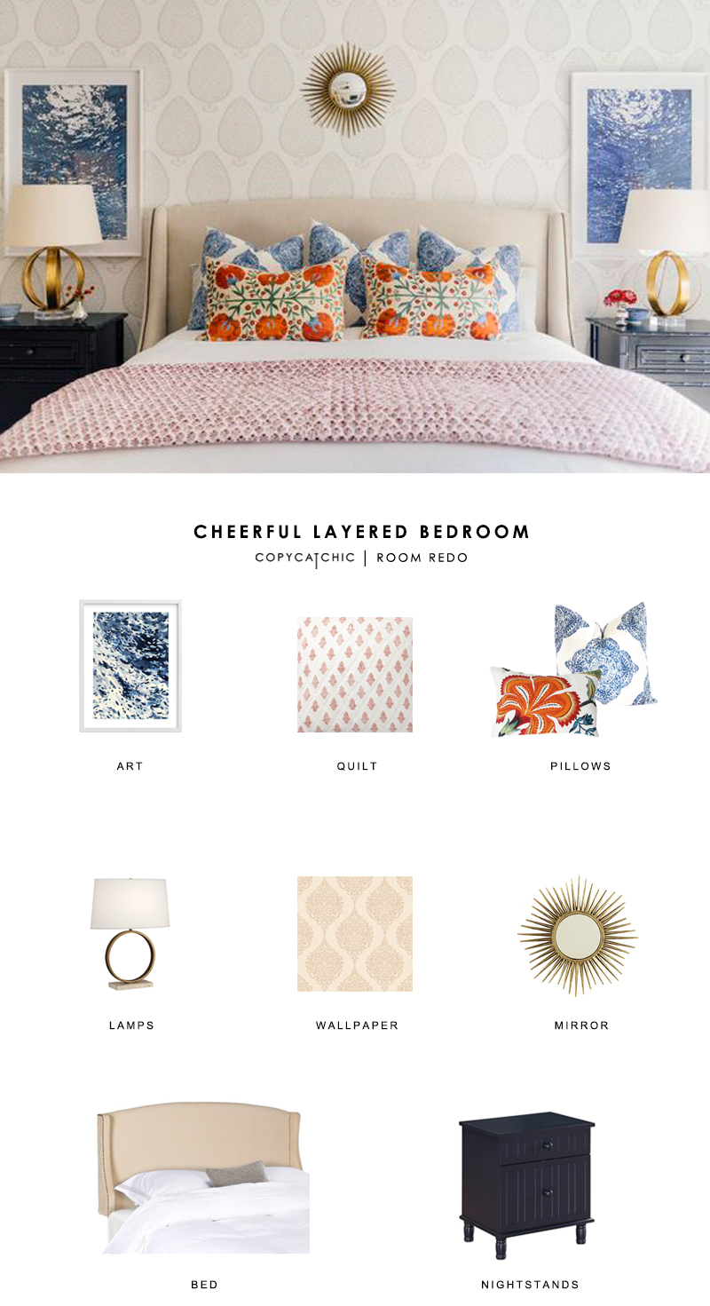 A cheerful, colorful bedroom by Paloma Contreras created for less by copycatchic luxe living for less budget home decor and design looks for less