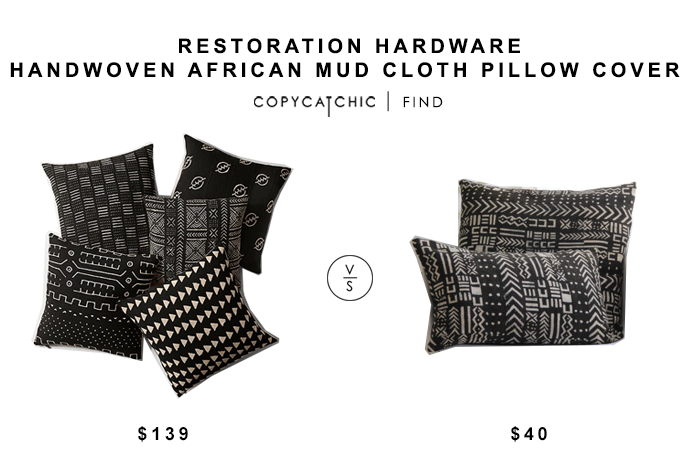 Restoration Hardware Handwoven African Mud Cloth Pillow Cover for $139 vs Authentic Mud Cloth Cushion Cover for $40 copycatchic luxe living for less