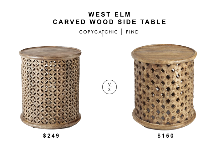 West Elm Carved Wood Side Table for $249 vs Tribal Carved wood Accent Table for $150 copycatchic luxe living for less budget home decor and design