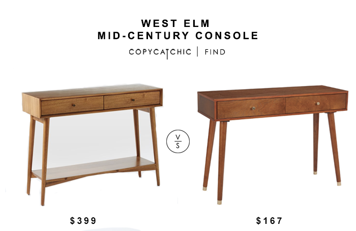 West Elm Mid-Century Console Table for $399 vs Cupertino Console Table for $155 copycatchic luxe living for less budget home decor and design