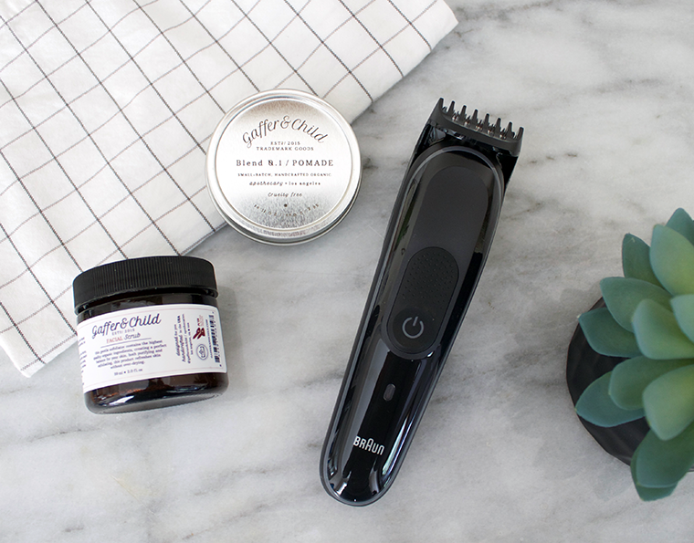 Modern minimalist gift ideas for Fathers Day. Gift guide Copy Cat Chic hipster favorites for the dads in your life   Luxe living for less   Gaffer & Child All Natural unisex skincare and the new Braun MGK Bead Trimmer