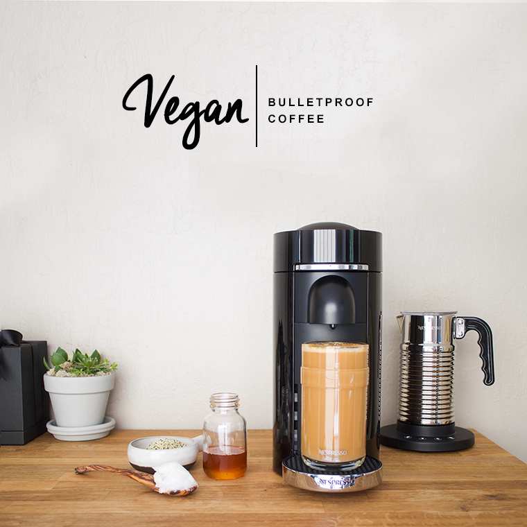 Vegan bulletproof coffee with homemade hemp milk and organic coconut oil using a nespresso vertuoplus and aeroccino | copycatchic luxe living for less