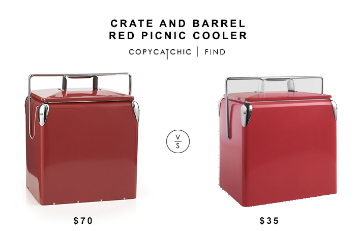 Crate and Barrel Red Picnic Cooler for $70 vs World Market Cherry Red Retro Cooler for $35 copycatchic luxe living for less budget home decor and design