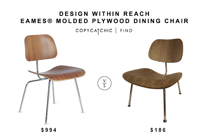 DWR Eames Molded Plywood Dining chair for $994 vs Plywood Metal Lounge Chair for $186 copycatchic luxe living for less budget home decor and design