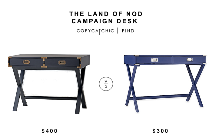 Land of Nod Campaign Desk for $400 vs Campaign Writing Desk for $300 copycatchic luxe living for less budget home decor and design looks for less