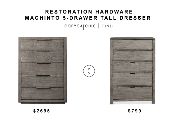 Restoration Hardware Machinto 5-Drawer Tall Dresser for $2595 vs Tribeca Grey Chest for $799 copycatchic luxe living for less budget home decor and design