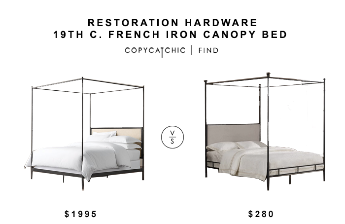 Restoration Hardware French Iron Canopy Bed for $1995 vs Overstock Lauren Upholstered Canopy Bed for $280 copycatchic luxe living for less budget home decor