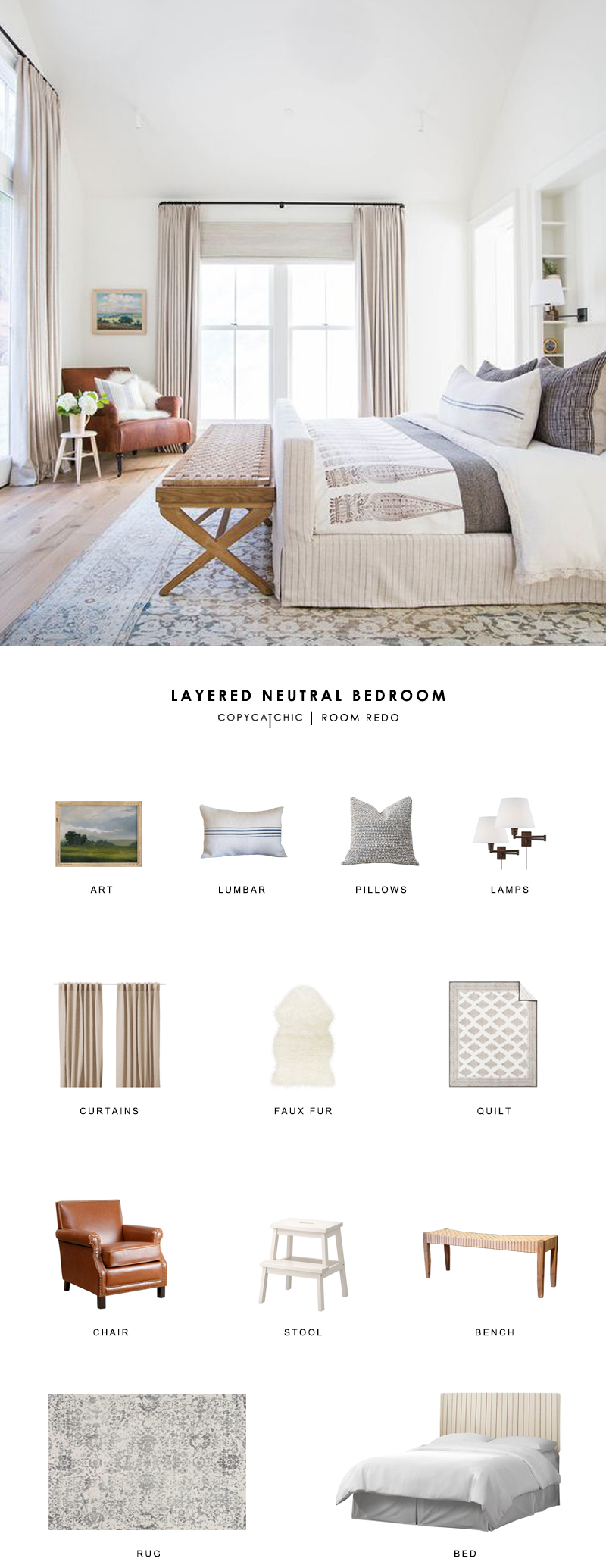 A traditional modern neutral bedroom by Amber Interiors gets recreated for less by copycatchic luxe living for less budget home decor and design