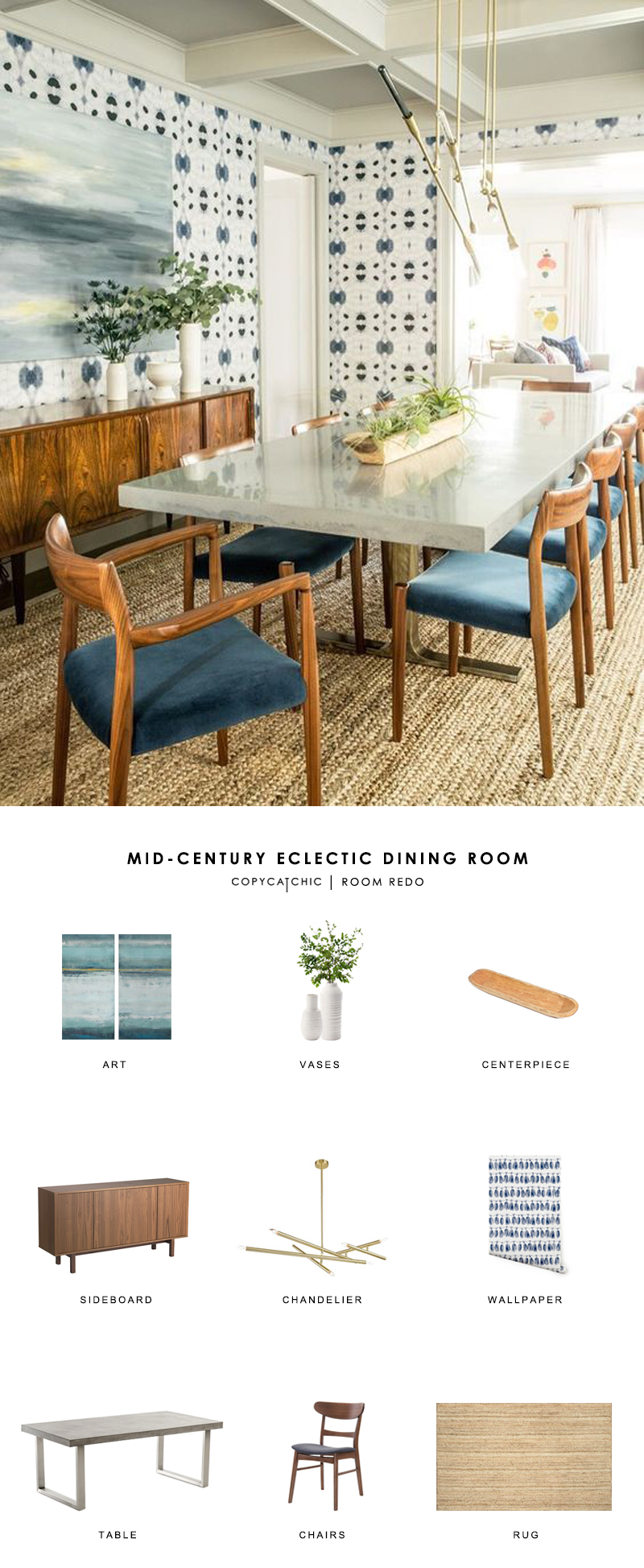 Copy Cat Chic Room Redo | Mid-Century Eclectic Dining Room - copycatchic