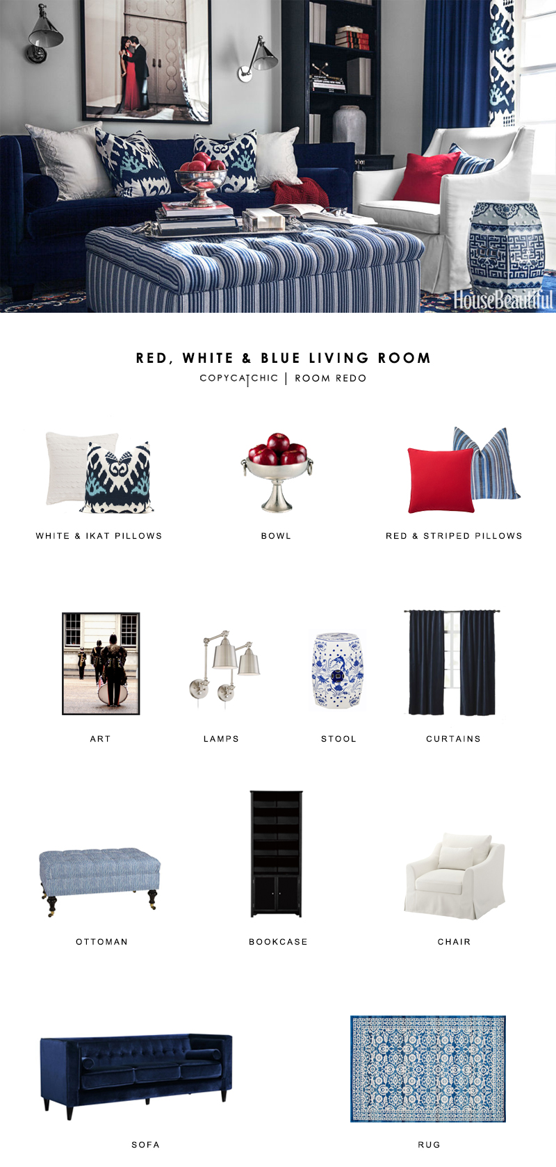 A blue and red chic living room by Mary McDonald gets recreated for less by copycatchic luxe living for less budget home decor and design