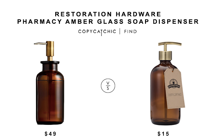Restoration Hardware Pharmacy Amber Glass Soap Dispenser $49 vs Amber Glass Jar Soap Dispenser for $15 copycatchic luxe living for less budget home decor