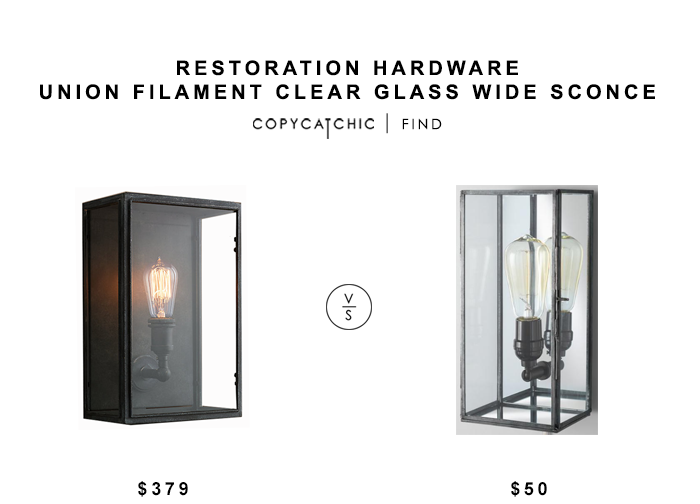 Restoration Hardware Union Filament Clear Glass Wide Sconce for $379 vs World Market Glass Rectangle Nora Wall Sconce $50 copycatchic luxe living for less