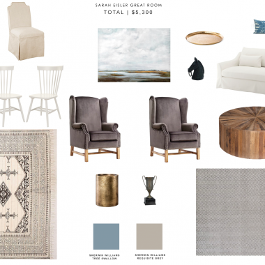 copycatchic interior design dilemma a modern farmhouse living room and dining room for around $3000 luxe living for less budget home decor and design
