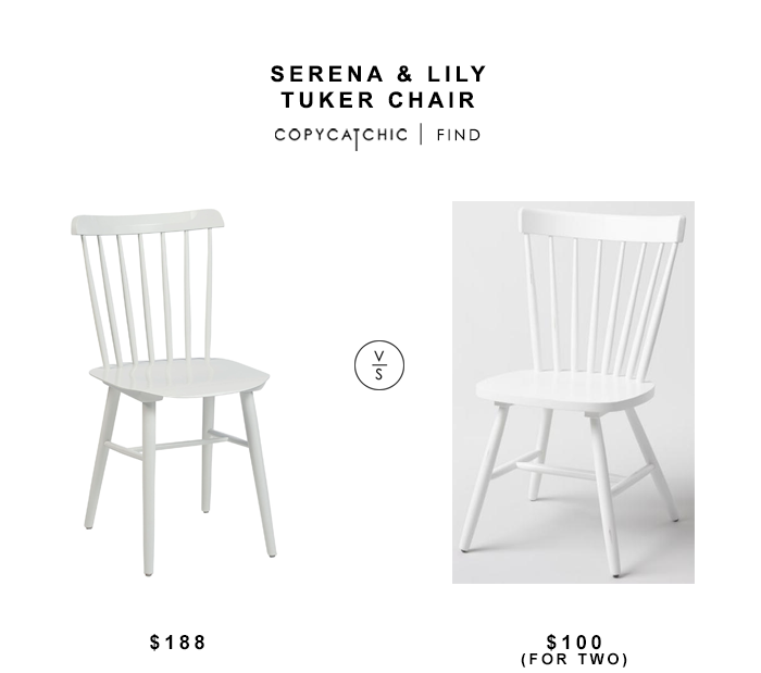 Serena & Lily Tucker Chair for $188 vs World Market White Wood Stafford Windsor Chair for $50 copycatchic luxe living for less budget home decor and design