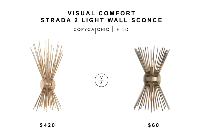 Visual Comfort Strada Wall Sconce for $420 vs World Market Brass Starburst Logan Wall Sconce $60 copycatchic luxe living for less budget home decor & design