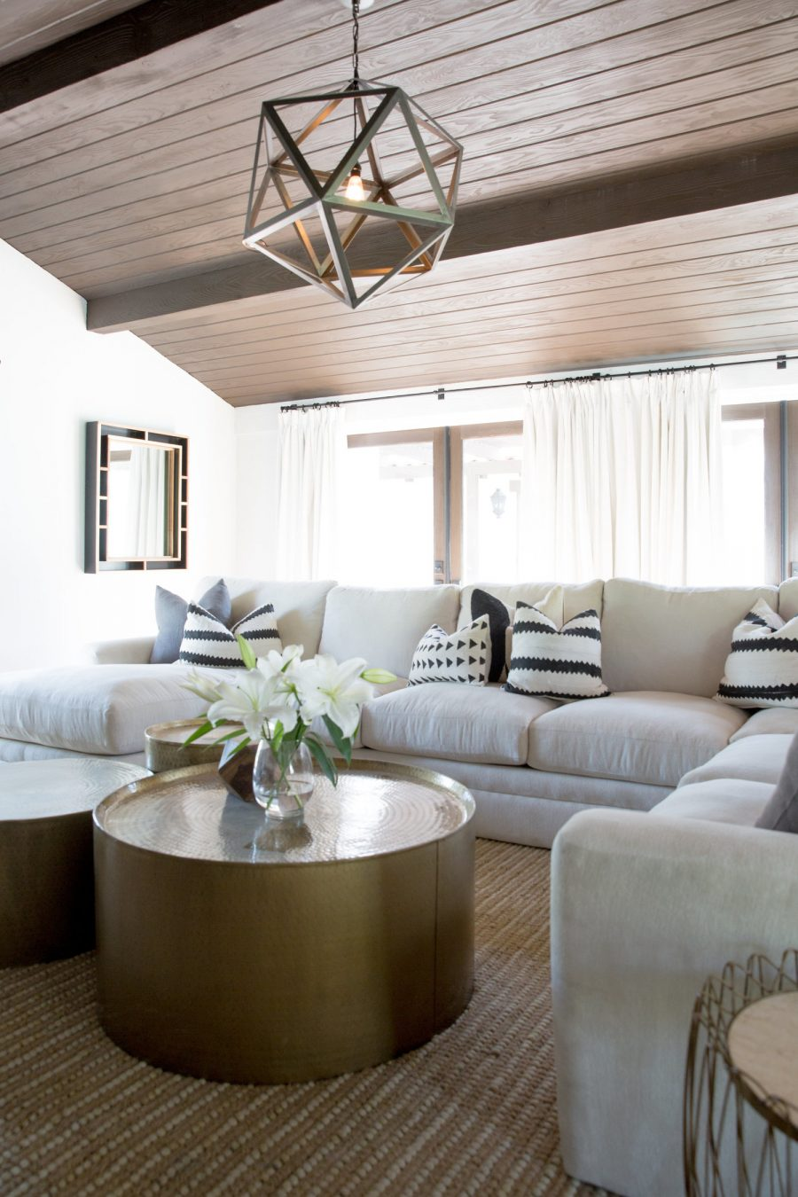 This modern and neutral family room by Twofold LA gets recreated for less by copycatchic luxe living for less budget home decor and design