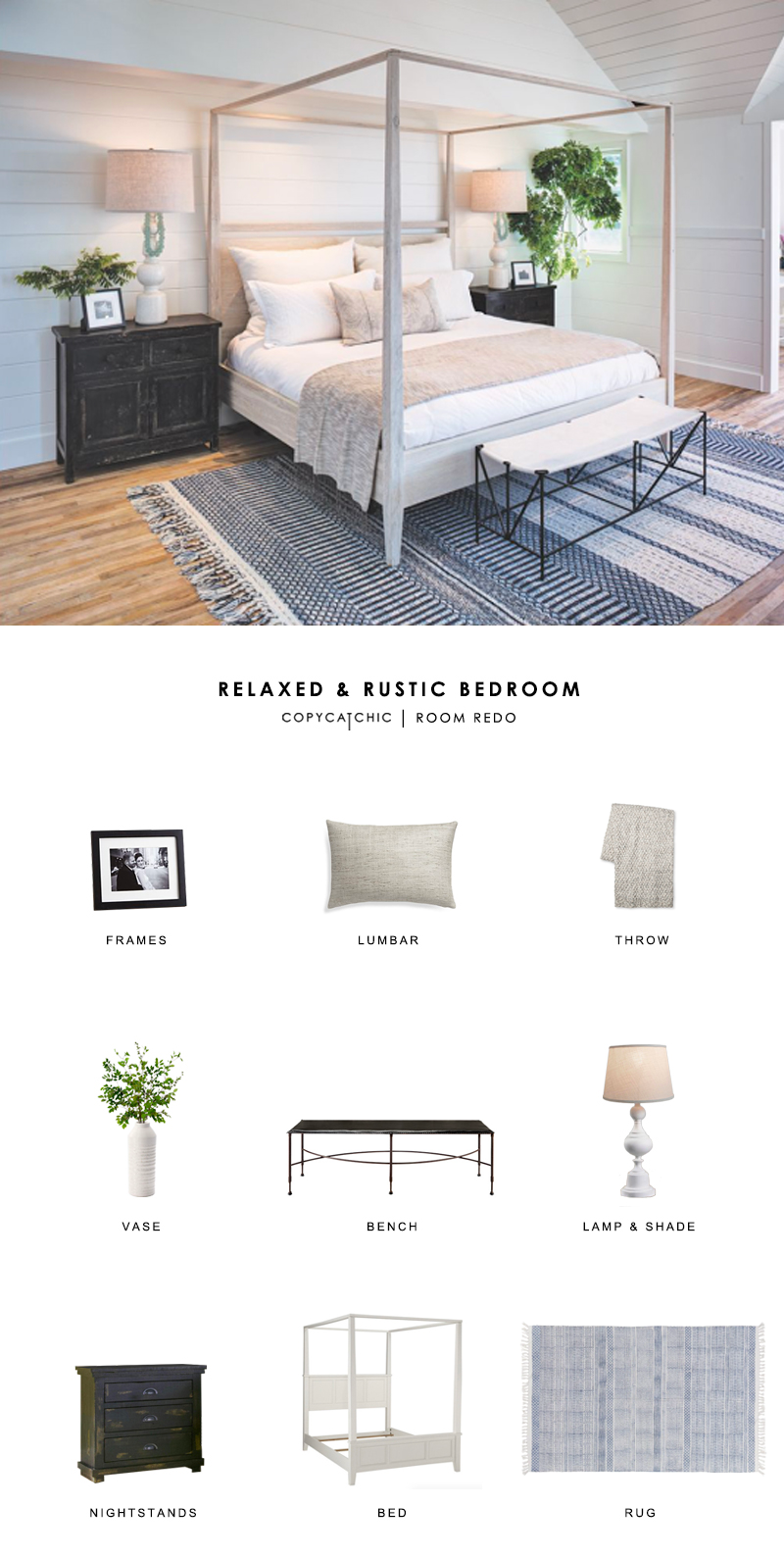 A coastal California rustic bedroom featured in Luxe gets recreated for less by copycatchic luxe living for less budget home decor & design room redos