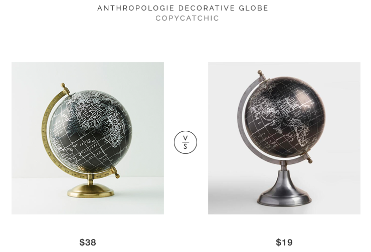 Anthropologie Decorative Black Globe for $38 vs World Market Black Globe $19 copycatchic luxe living for less budget home decor and design looks for less