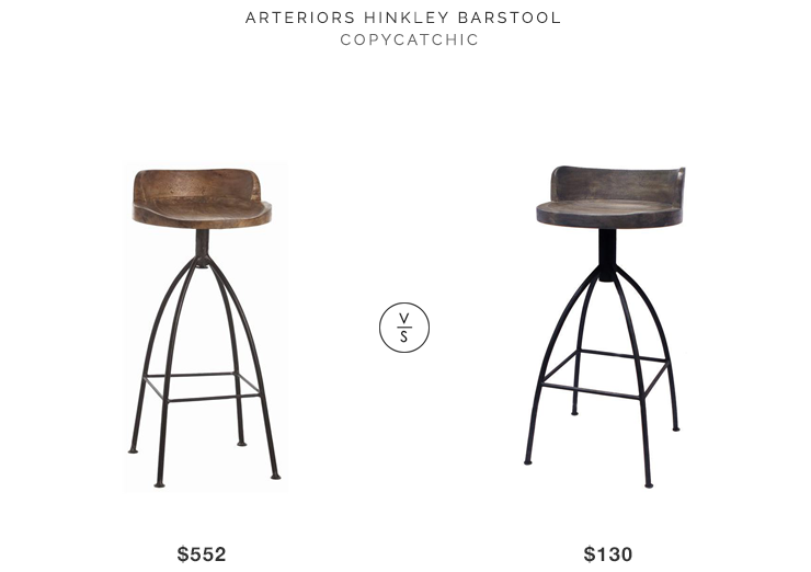 Home Click Arteriors Hinkley Barstool for $552 vs At Home Safaree Stool for $130 copycatchic luxe living for less budget home decor & design looks for less