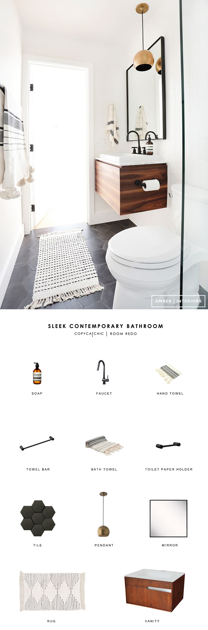 A black and white minimalist wood bathroom by Amber Interiors recreated for less by copycatchic luxe living for less budget home decor and design