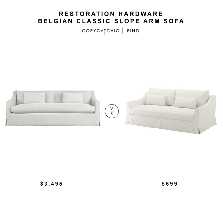 Restoration Hardware Belgian Classic Slope Arm Sofa for $3495 vs Ikea Farlove Sofaa for $699 copycatchic luxe living for less budget home decor and design