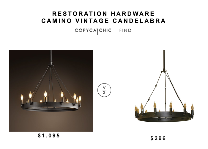 Restoration Hardware Camino Vintage Candelabra for $1095 vs Home Depot Verdun Bronze Chandelier for $296 copycatchic luxe living for less budget home decor