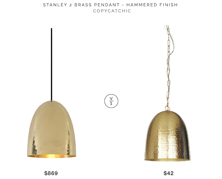 Stanley 2 Brass Pendant Hammered $869 vs Target Dom Hammered Metal Pendant Light $42 brass hammered pendant look for less copycatchic luxe living for less