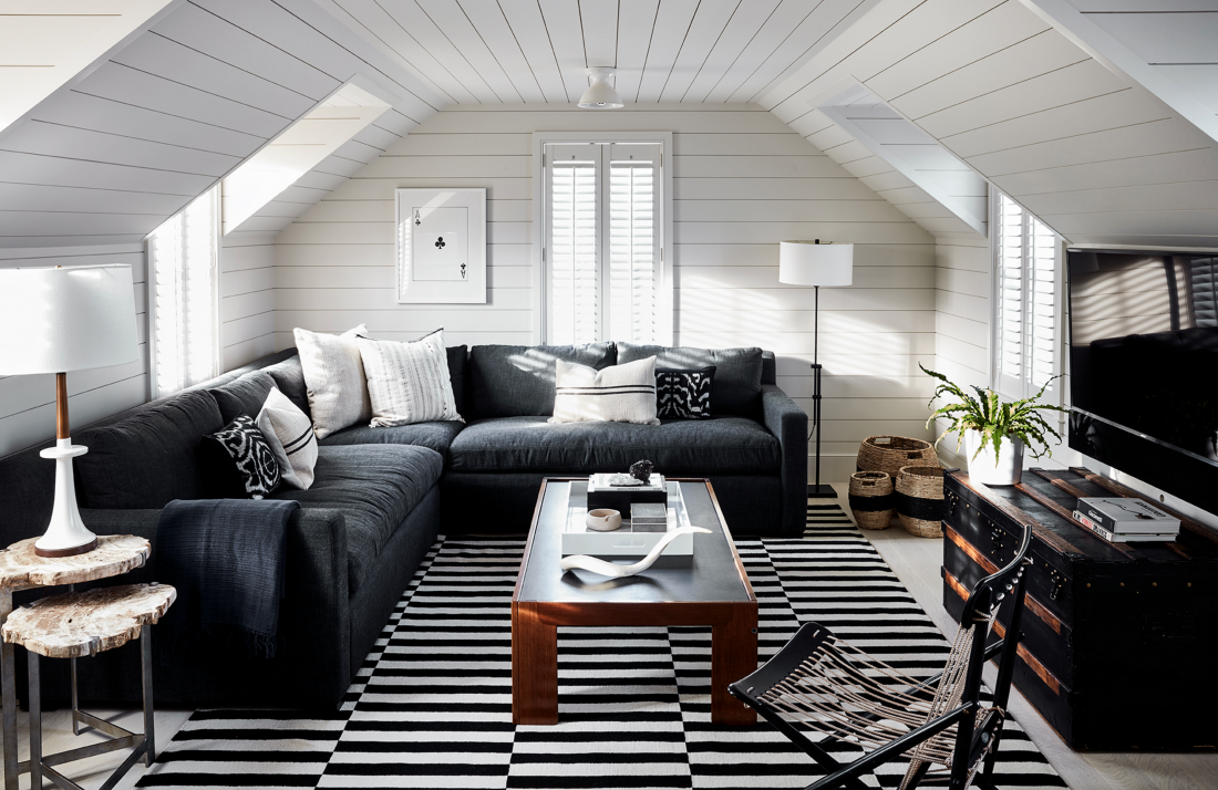 Copy Cat Chic Room Redo Cozy Black And White Den