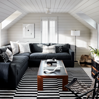 Copy Cat Chic Room Redo | Cozy Black and White Den