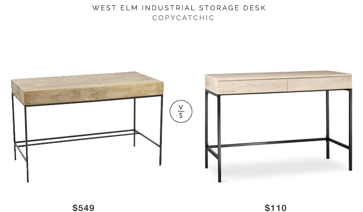 West Elm Industrial Storage Desk for $549 vs Target Darley Writing Desk for $110 copycatchic luxe living for less budget home decor and design