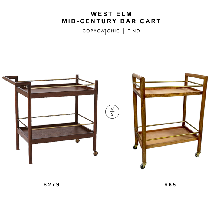 West Elm Mid Century Bar Cart for $279 vs Target Threshold Wood and Gold Bar Cart for $65 copycatchic luxe living for less budget home decor and design