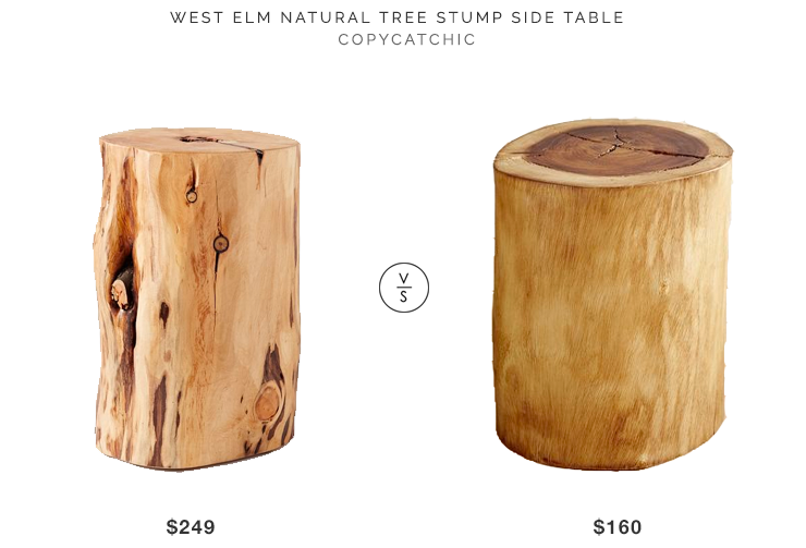 West Elm Tree Stump Side Table for $249 vs Pier 1 Natural Tree Stump Accent Table for $160 copycatchic luxe living for less budget home decor and design