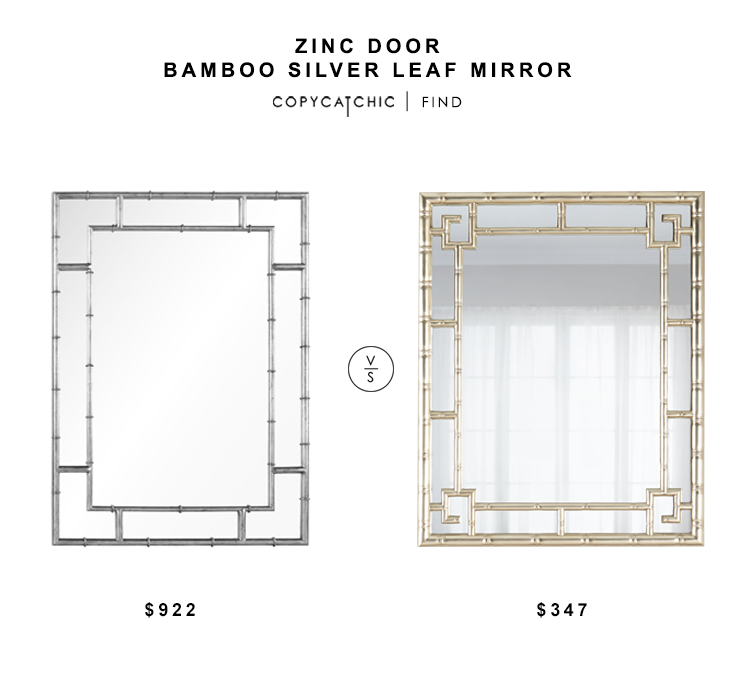 Zinc Door Bamboo Silver Leaf Mirror for $922 vs Horchow Reedly Wall Mirror for $495 copycatchic luxe living for less budget home decor and design
